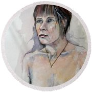 Round Beach Towel featuring the painting Sketch For White Amber by Ray Agius