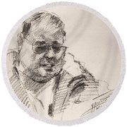 Sketch Man 14 Round Beach Towel