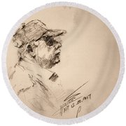 Sketch Man 19 Round Beach Towel