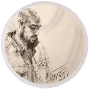 Sketch Man 9 Round Beach Towel