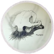 Round Beach Towel featuring the painting Sketch Of Sera.10.03 by Ray Agius