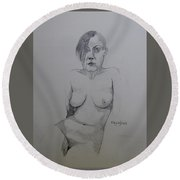 Round Beach Towel featuring the drawing Sketch Reclining Cassie by Ray Agius