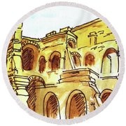 Sketching Italy Rome Colosseum Ruins Round Beach Towel