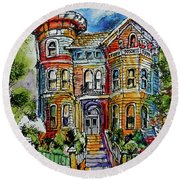 Round Beach Towel featuring the painting Sketchy Victorian by Terry Banderas