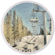 Ski Colorado Round Beach Towel by Juli Scalzi