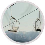 Ski Lift In Summer Sky Round Beach Towel