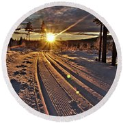 Ski Trails With Sun Beams Round Beach Towel