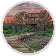 Round Beach Towel featuring the photograph Skidaway Island State Park Overlook by Rob Sellers