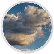 Skies Over Ghost Ranch New Mexico Round Beach Towel