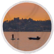 Skiff Anchored - Dinghy Ride Back To Shore Round Beach Towel