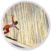 Skiing In Aspen, Colorado Round Beach Towel