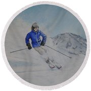 Round Beach Towel featuring the painting Skiing The Whistler Blackcomb In Bc by Kelly Mills