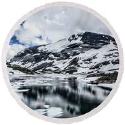 Skjolden Glacial Beauty Round Beach Towel by Shirley Mangini