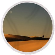 Skn 1117 Camel Ride At 6 Round Beach Towel
