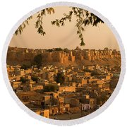Skn 1334 The Golden City Round Beach Towel by Sunil Kapadia