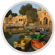 Skn 1391 A Visit To Gadisar Lake Round Beach Towel by Sunil Kapadia