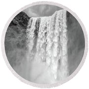Round Beach Towel featuring the photograph Skogafoss Waterfall Iceland by Edward Fielding