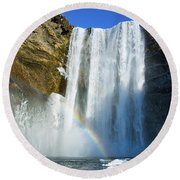 Round Beach Towel featuring the photograph Skogafoss Waterfall Iceland In Winter by Matthias Hauser