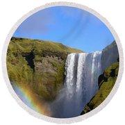 Skogafoss Waterfall With Rainbow 151 Round Beach Towel