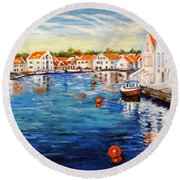 Skudeneshavn Norway Round Beach Towel