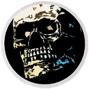 Skull Against A Dark Background Round Beach Towel
