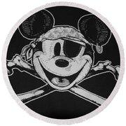 Skull And Bones Mickey  Round Beach Towel