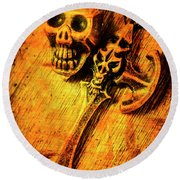 Skull And The Sword Round Beach Towel