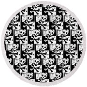 Skull Checker Round Beach Towel