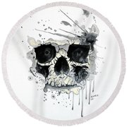 Round Beach Towel featuring the painting Skull by Edwin Alverio