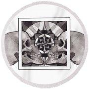Skull Mandala Series Nr 1 Round Beach Towel by Deadcharming Art