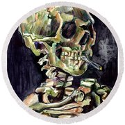 Skull Of A Skeleton With Burning Cigarette Round Beach Towel