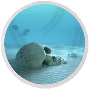 Skull On Sandy Ocean Bottom Round Beach Towel