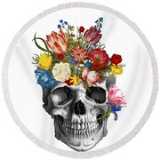 Skull With Flowers Round Beach Towel
