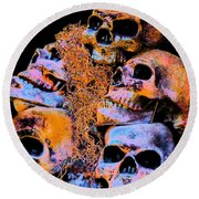 Round Beach Towel featuring the photograph Skulls by Annie Zeno