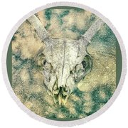 Skully In The Clouds Round Beach Towel