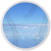 Round Beach Towel featuring the photograph sky and clouds M1 by Francesca Mackenney