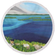Serene Blue Lake Round Beach Towel