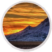 Round Beach Towel featuring the photograph Sky And Stone by Fiskr Larsen