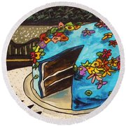 Round Beach Towel featuring the painting Sky Blue Cake by John Williams