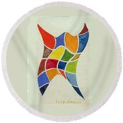 Sky Diver Watercolor Round Beach Towel by Fred Jinkins