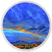 Round Beach Towel featuring the photograph Sky Fall by Scott Mahon