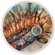 Sky Feather Detail Round Beach Towel