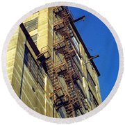 Round Beach Towel featuring the photograph Sky High Warehouse by T Brian Jones