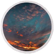 Sky In Fire #g6 Round Beach Towel