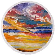 Sky In The Morning.             Sailor Take Warning  Round Beach Towel