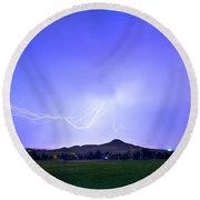 Round Beach Towel featuring the photograph Sky Monster Above Haystack Mountain by James BO Insogna