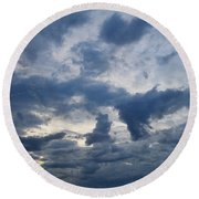 Round Beach Towel featuring the photograph Sky Moods - Happenings by Glenn McCarthy Art and Photography