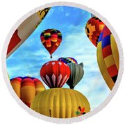 Sky Of Balloons Round Beach Towel by Gina Savage