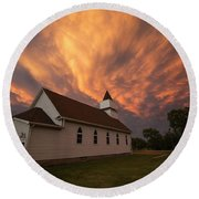 Round Beach Towel featuring the photograph Sky Of Fire by Aaron J Groen