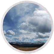 Sky Of Shrine Ridge Trail Round Beach Towel